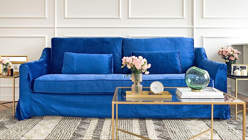 IKEA Farlov Sofabezug Rouge Indigo Samt