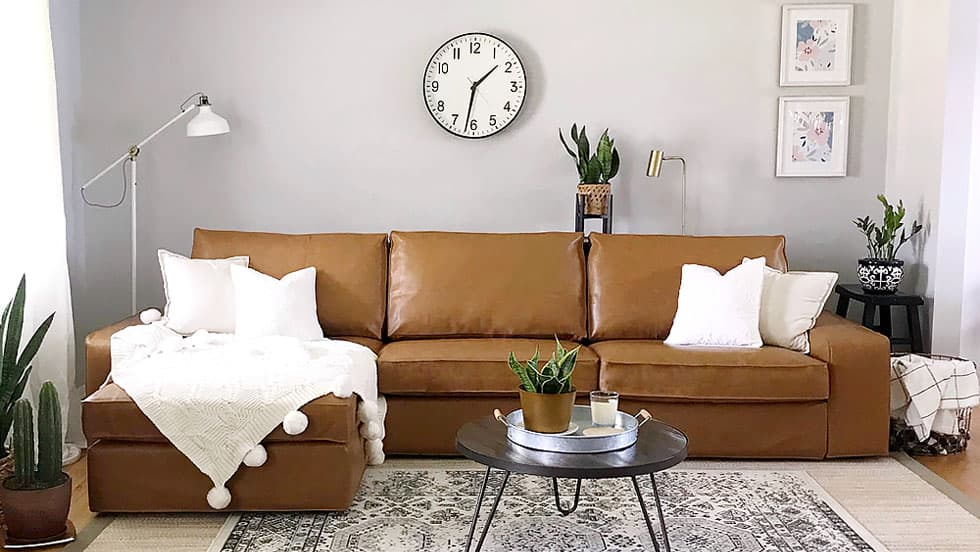 IKEA kivik sofa cover covered in savannah saddle bycast leather slipcover by comfort works