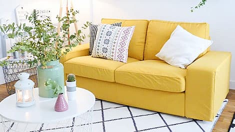 IKEA kivik sofa cover covered in shire mustard panama cotton slipcover by comfort works