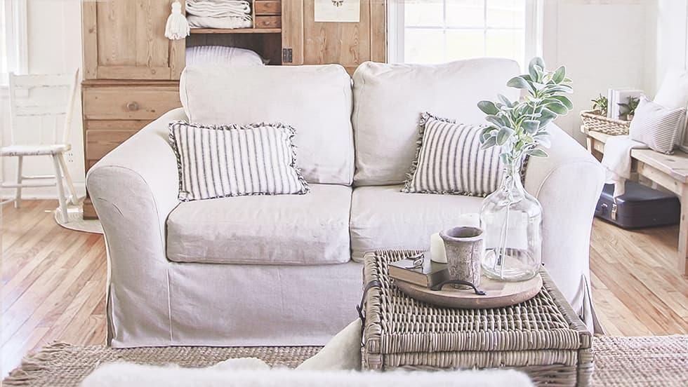 Maßgeschneiderter Sofabezug aus Modena White Bycast-Leder