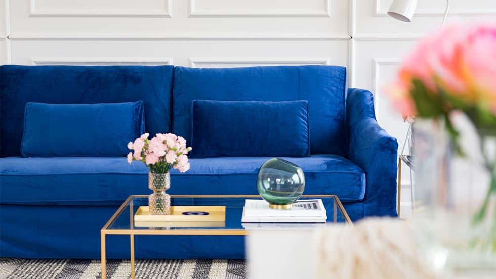 FV IKEA Sofa Covers Farlov Rouge Indigo Velvet Blends Couch Slipcover