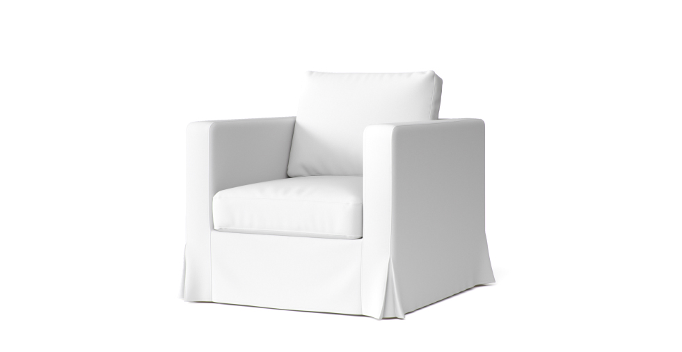 Boxed Seat Loose Fit Square Armchair Slipcover