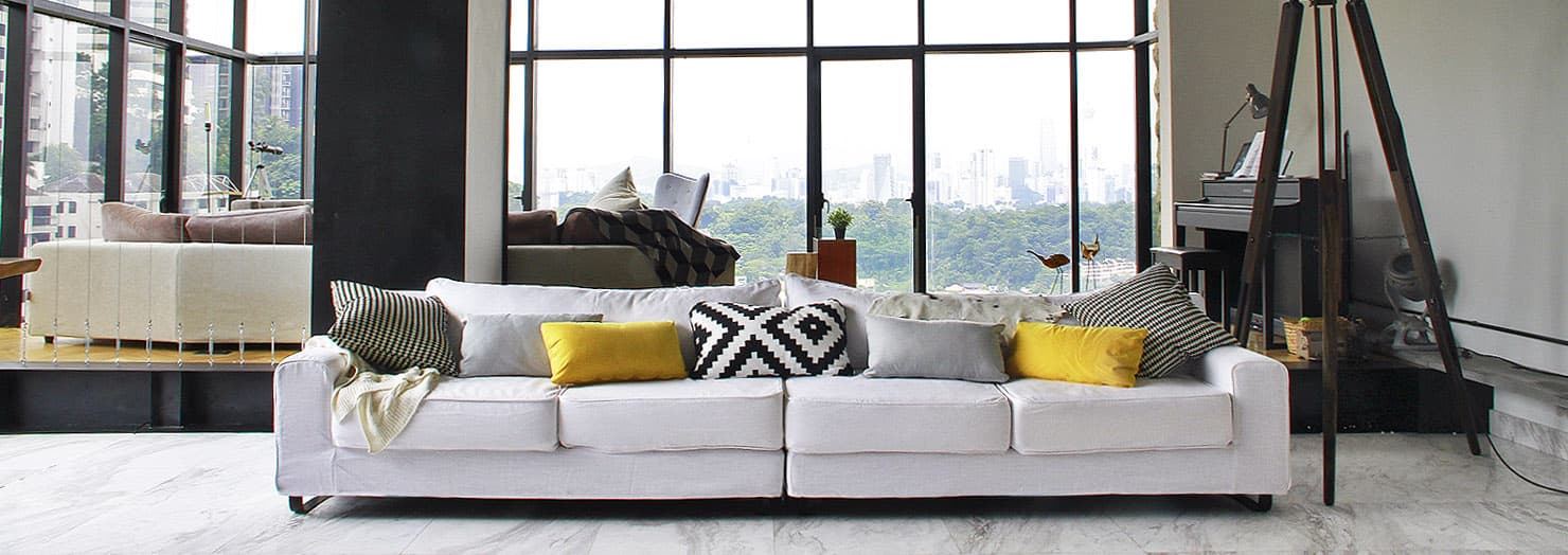 Custom Sofa Slipcover in Industrial Apartment