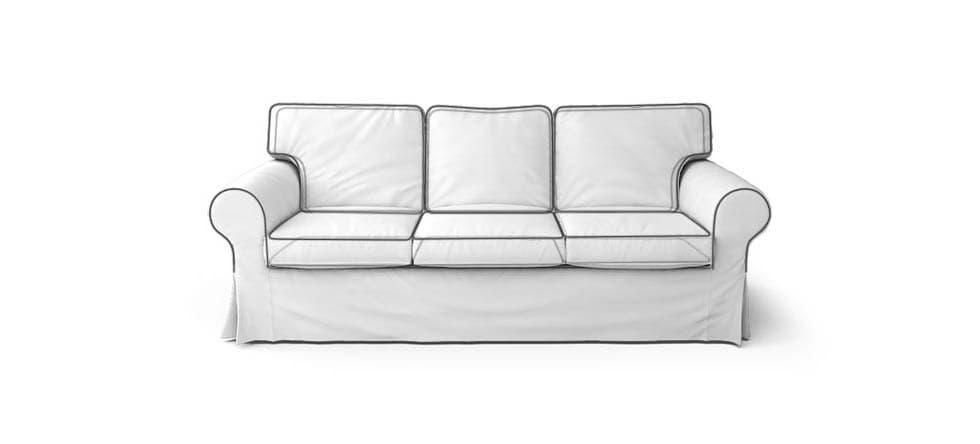 Bodenlanger Sofabezug mit Paspeln
