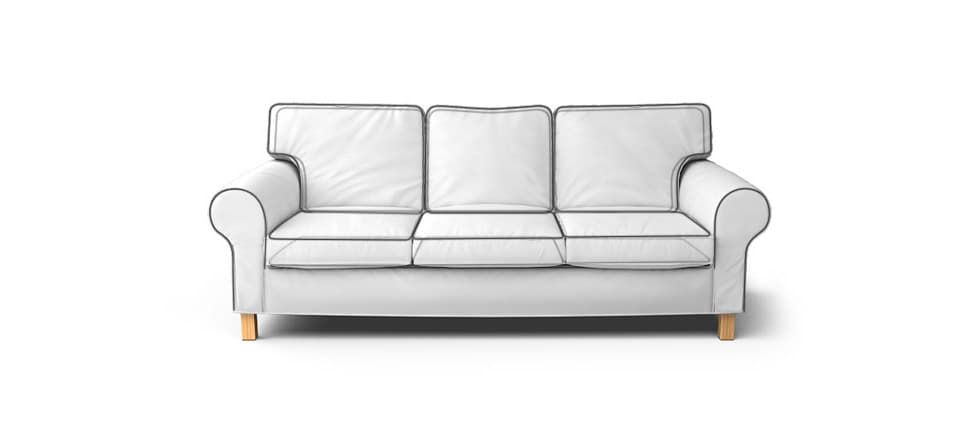 default piping for round arm sofa slipcover snug