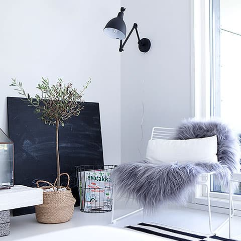 Living room space with furry rug