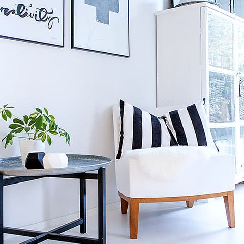 Armchair in common white space area