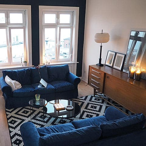 IKEA Ektorp sofas in indigo velvet custom slipcovers by Comfort Works